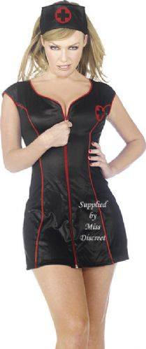 Sexy Black Zip Front Women's Goth Nurse Outfit Small to X Large